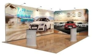 fabric pop up curved display stretch fabric signage tension fabbic display